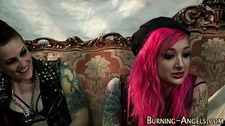 Punk rock slut rides dick