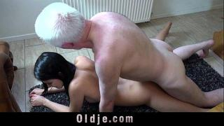 Old young porn Hot 18 years old virgin sex with old man fuck and facial cum