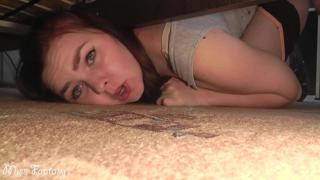 Stuck under the bed and was fucked in a wet pussy